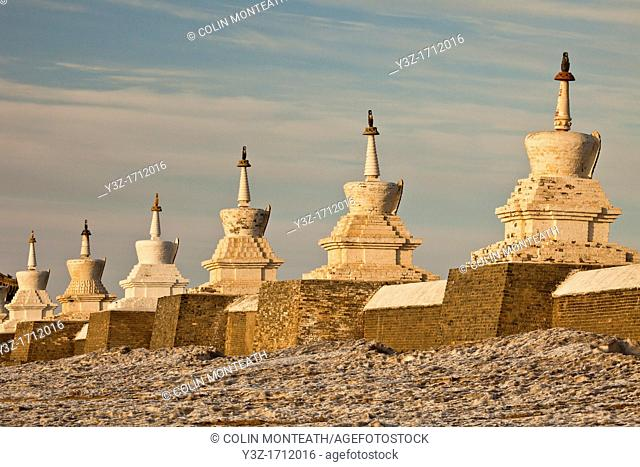 108 Buddhist stupas surround Erdene Zuu monastery, near Kharakhorum , ancient capital of Mongol empire, Mongolia