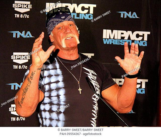 Semi-retired professional wrestler, actor, television personality and entrepreneur Hulk Hogan of TNA Impact Wrestling at the press conference
