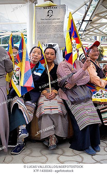 women's demonstration, for the freedom of Tibetan women,in Namgyal Monastery, Tsuglagkhang complex  McLeod Ganj, Dharamsala, Himachal Pradesh state, India, Asia