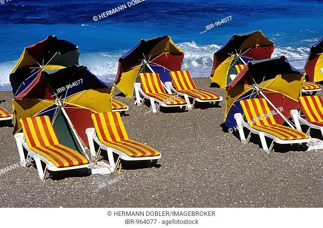 Deckchairs and sun-shades, beach, Rhodes City, Rhodes Island, Greece, Europe