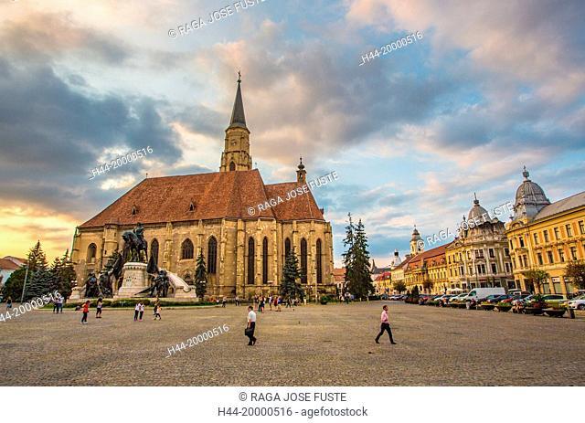 Romania, Transylvania, Cluj Napoca City, Mathia Rex Monument, St. Michael's Church, Unirii Square
