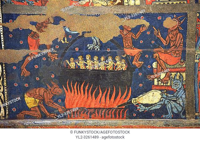Gothic altar panel depicting scenes of hell with the damned in a colder being heated by the devil. End of the 13th century