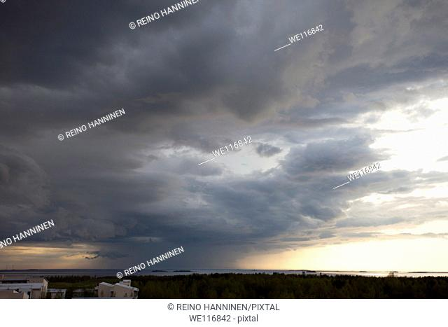 Rain storm clouds rising from sea. Location Oulu Finland Scandinavia Europe