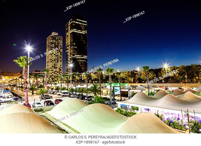 Mapfre tower and Hotel Arts  Olympic Village  Barcelona  Spain
