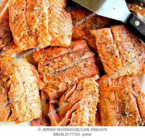 Close up of sliced baked salmon