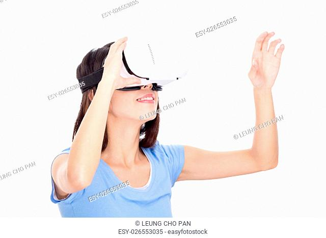 Woman wearing virtual reality device