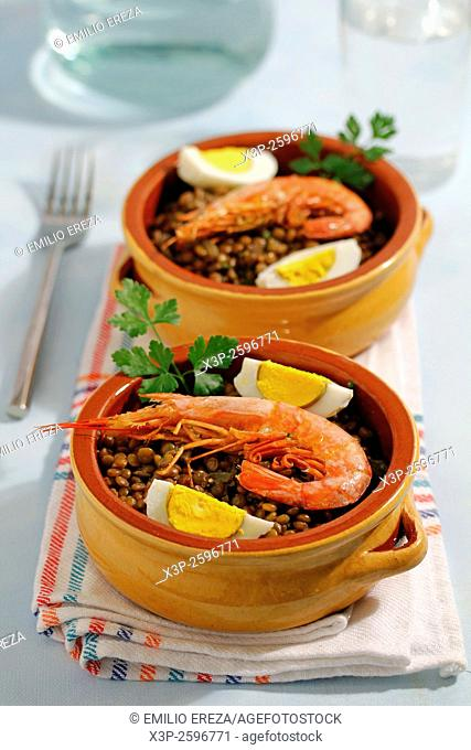 Lentils with prawns