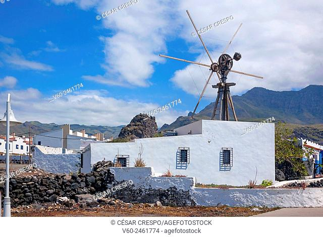 -Ancient Wind-Mill in Agaete Village- Canary Island Spain