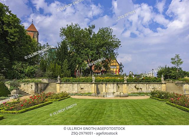 The Collegiate Church of St. Servatius as well as castle buildings, seen from the monastery gardens, Quedlinburg, Saxony-Anhalt, Germany