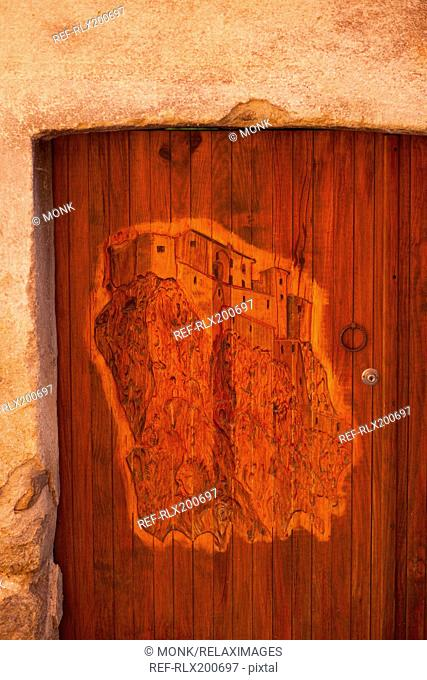 Carved wooden door, Corte, Corsica, France