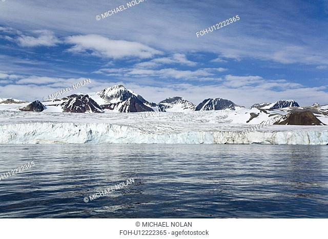 A view of the tidewater glacier in Isbukta Ice Bay on the western side of Spitsbergen Island in the Svalbard Archipelago, Barents Sea, Norway