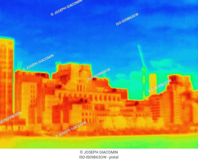 Thermal photograph of MI6 building, London, UK
