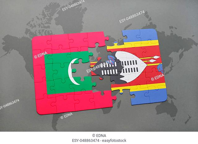 puzzle with the national flag of maldives and swaziland on a world map background. 3D illustration