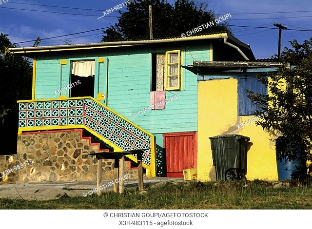 coloured house,Mayreau,Grenadines islands,Saint Vincent and the Grenadines,Winward Islands,Lesser Antilles,Caribbean Sea