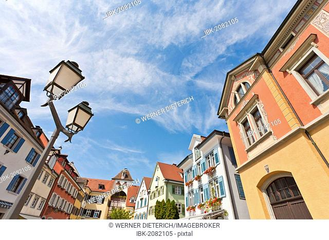 Houses in the Unterstadt district, Meersburg, Bodensee, Lake Constance, Bavaria, Germany, Europe