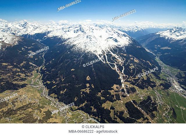 Aerial view of Bormio Ski Area Valfurva Valtellina Lombardy Italy Europe