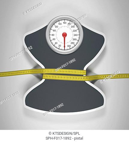 Weighing scales with tape measure