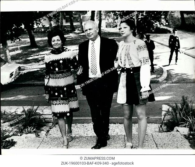 Jan. 09, 1974 - ISRAEL PRESIDENT AT HOME. The newly elected President of Israel, PROFESSOR EPHRAIM KATSCHAISKI, with his wife and daughter