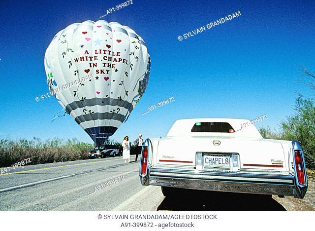 Getting married in a hot air balloon, Las Vegas. Nevada, USA
