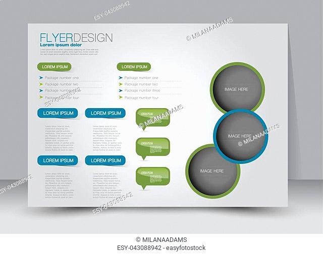 Flyer, brochure, magazine cover template design landscape orientation for education, presentation, website. Blue and green color