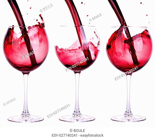 full and empty red wine glass against a white background