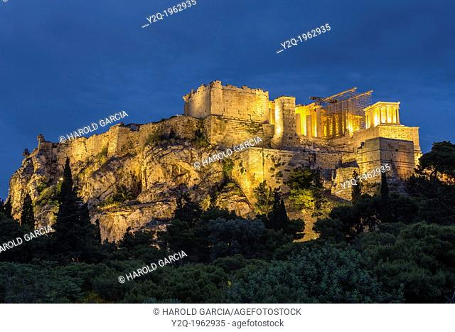 Acropolis Hill with the Parthenon construction shot in blue hour, Athens, Greece