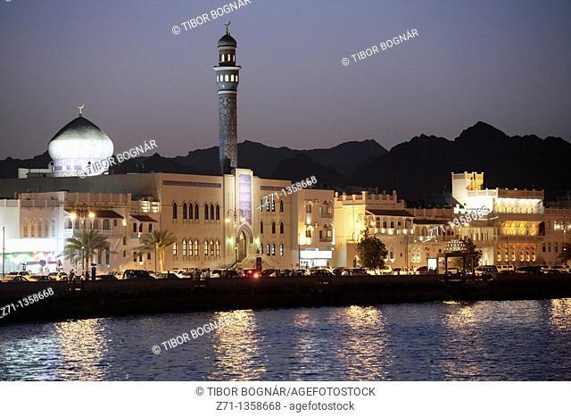 Oman, Muscat, Mutrah, skyline at night