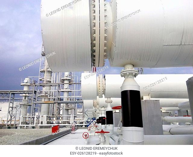 Heat exchangers in a refinery. The equipment for oil refining