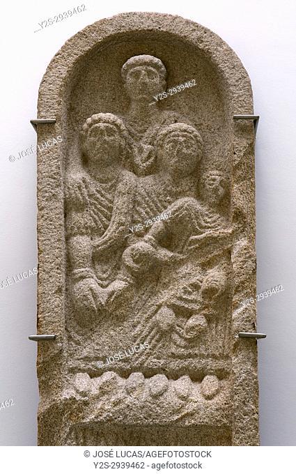 Provincial museum - funerary steele of Crecente (1st century), Lugo, Region of Galicia, Spain, Europe
