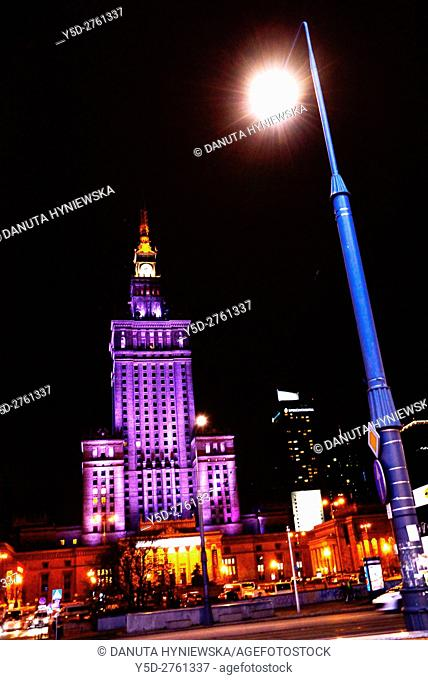 Palace of Culture and Science at night, Warsaw, Poland, Europe