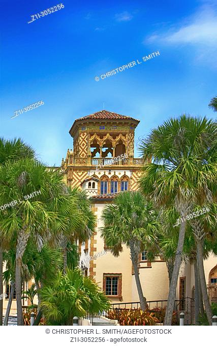 Architectural features of Ca D' Zan, the Ringling home in Sarasota FL, USA