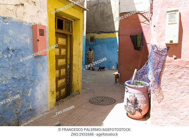 Colourful doors and windows in the alleys of medina. Essaouira, Marrakech-Safi. Morocco