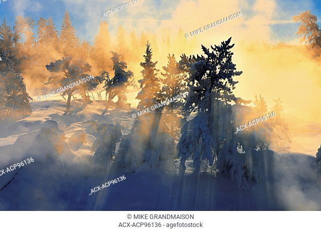 Wabigoon River st sunrise Vermillion Bay Ontario Canada