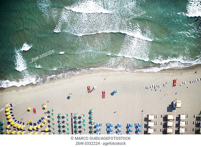 Top view of the equipped beach of Forte dei Marmi at the beginning of the summer season