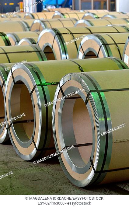 Steel coil pack in warehouse