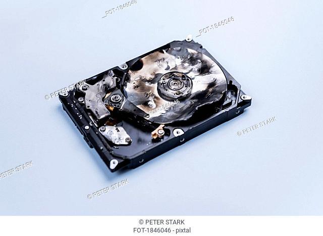 Burned external hard disk drive