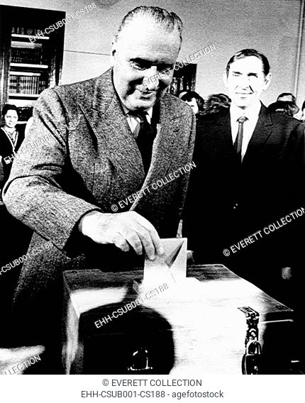 President Georges Pompidou casts his ballot in French parliamentary elections, March 11, 1973. His right wing Gaullist won power for another five years