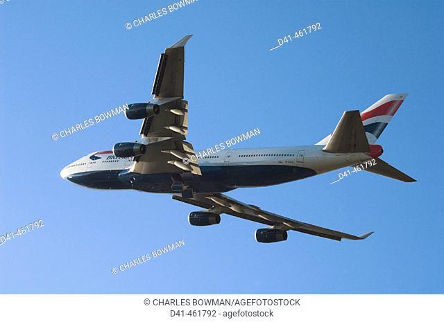 British Airways' Boeing 747 jumbo landing at Heathrow, London, England, UK