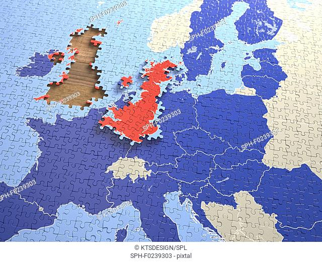 United Kingdom and European Union jigsaw puzzle, illustratio