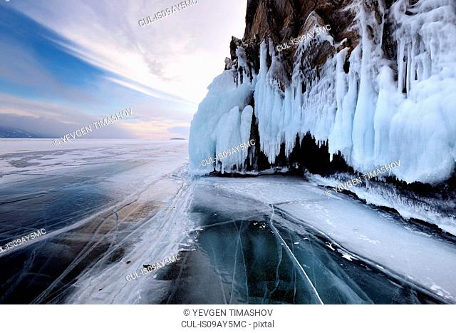 Rockface of Ogoy Island on frozen Baikal Lake, Olkhon Island, Siberia, Russia