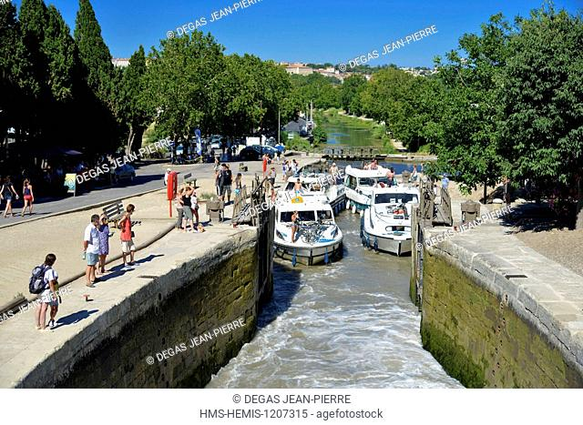 France, Herault, Beziers, Canal du Midi listed as World Heritage by UNESCO, locks of Fonseranes, draining of an airlock
