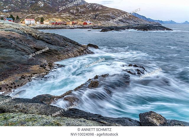 The abandoned fishing village Nesland, at the south end of Flakstadøy, Lofoten, Norway