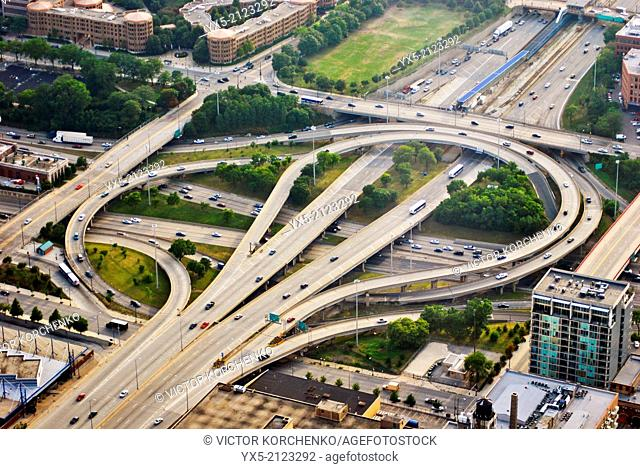 Aerial view of a highway intersection in Chicago