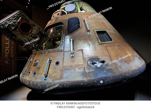 Used space capsule from an Apollo 14 space ship, on display at Kennedy Space Center, Cape Canaveral, Florida, America