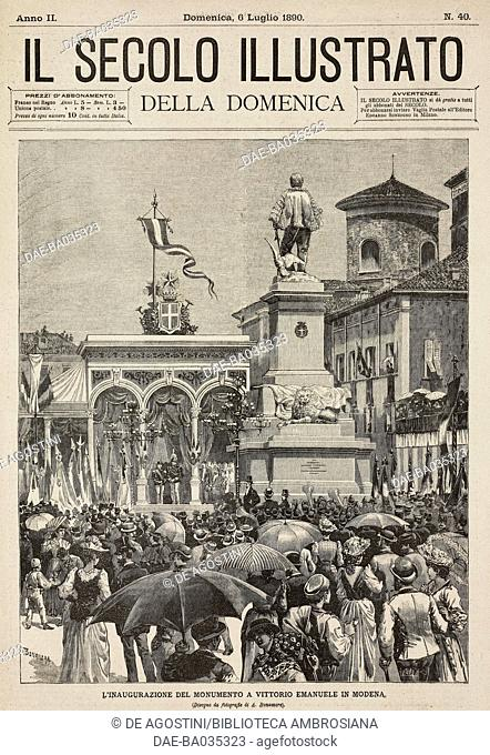 Inauguration of the Vittorio Emanuele II monument in Modena, Italy, drawing by A Bonamore, illustration from Il Secolo Illustrato della Domenica, Year II, No 40