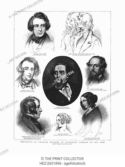 Portraits of Charles Dickens at different periods in his life, 1862. From 'The Graphic', March 19th, 1862