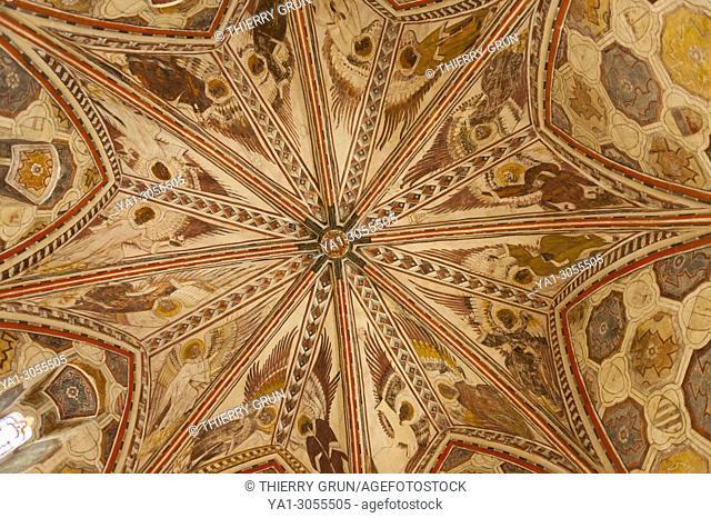France, Gers (32), village of La Romieu on the way of Saint Jacques de Compostelle, collegiate Saint-Pierre, medieval paintings, star roof