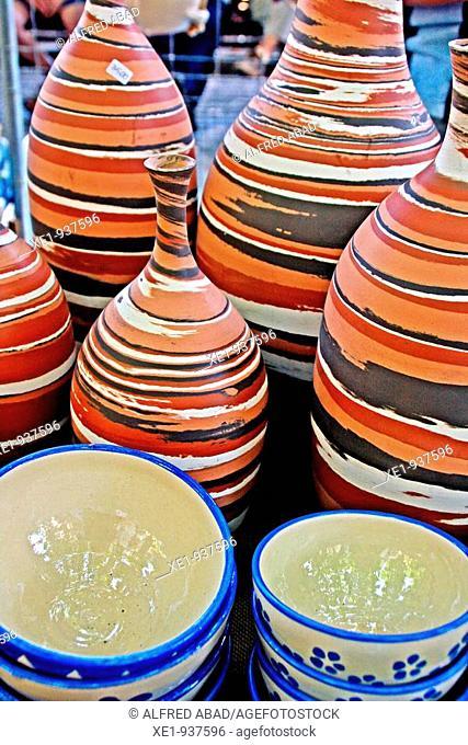 Ceramic bowls, Fira del Cantir '09, Argentona, Catalonia, Spain
