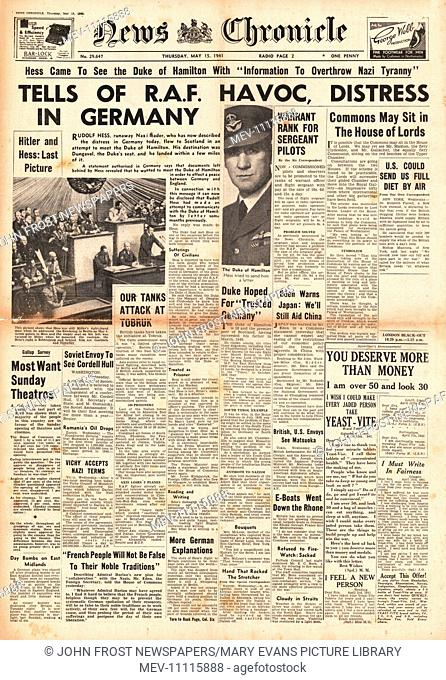 1941 front page News Chronicle Rudolf Hess files to Britain