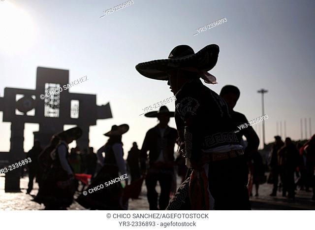 Charro dancers from Huauchinango, Puebla, during the annual pilgrimage to the Basilica of Our Lady of Guadalupe, Tepeyac Hill, Mexico City, Mexico